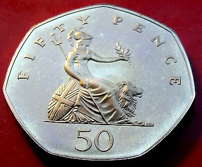 UK PROOF 1984  ENGLISH 50 FIFTY PENCE Hints of Blue Handsome Edge Toning.