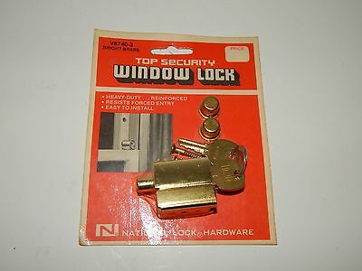National Lock Hardware Top Security Bright Brass Lock Vintage New Sealed V8740-3