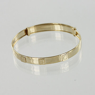 Hallmarked 9ct Yellow Gold A B C Expandable Baby Bangle Perfect for Christenings