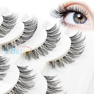 5 Pairs Handmade Natural Thick Long Cross False Fake Eyelashes Eye Lashes Makeup