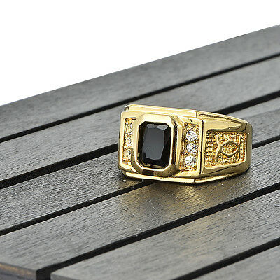 mens 18k yellow gold filled black onyx wedding bands pinky ring size 10 Gift
