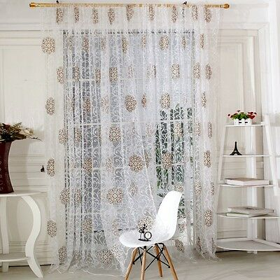 Room Floral Tulle Window Screen Voile Curtain Drape Panel Decal Scarf Valances