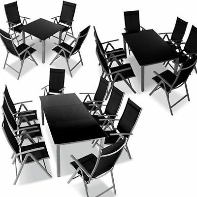 Garden Furniture Aluminium Dining Table and Chairs Set Folding Glass Top Patio