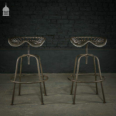 Pair of Adjustable Stools Made from Vintage Cast Iron Tractor Seats