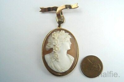 ANTIQUE 9 CARAT GOLD CARVED SHELL FLORA CAMEO BROOCH / PENDANT c1900