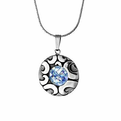 Beautiful New Round Sterling Silver Roman Glass Stunning Pendant Circular Design