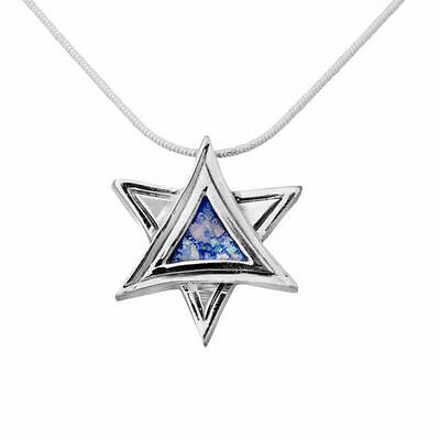 Deluxe Sterling Silver Blue Roman Glass Necklace Star of David Judaica Pendant