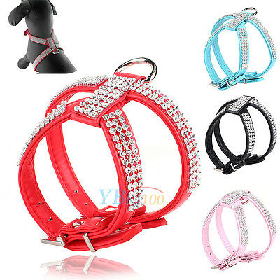 Pets Dog Bling Rhinestone Crystal Leather Chest Strap Harness Adjustable Collar