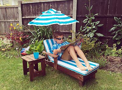 Kingfisher Kids Sun Lounger Set - Includes Bed + Umbrella + Side Table + Cushion