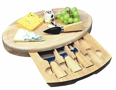 Occasion Large Oval Cheese Board Set With Integrated Drawer & 4 Cheese Knives