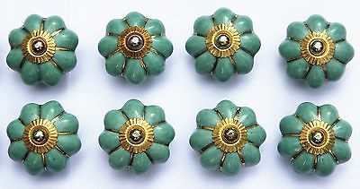 8 x Aqua Green flower Gold lines (brass fittings) ceramic porcelain pulls knobs