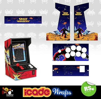 Icade Space Invaders Full Set Graphics Sticker / Sides Marquee & Panels