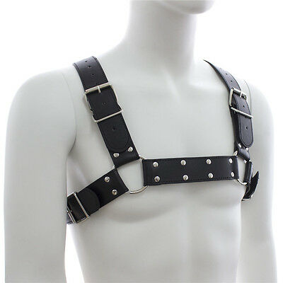 Mens black leather chest harness with buckles adjustable size clubwear straps
