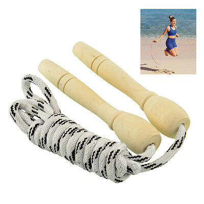 Sports Skipping Rope Wood Handle Child Fitness Exercise Speed Jump NEW