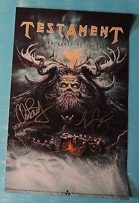 Testament Signed Poster 2 members including Chuck Dark Roots of Earth