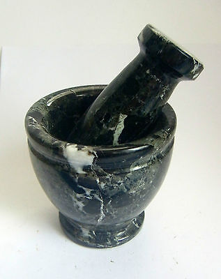 BLACK WHITE MARBLE  PESTLE & MORTAR from ITALY 521g 70mm tall