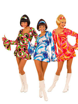 70ger Funky Fever Kleid bunt Fasching 70s Party