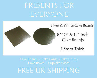 "8"" 10"" 12"" Inch Round or Square Silver Or White Covered Cake Board"