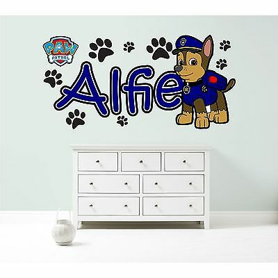 PAW PATROL CHASE PERSONALISED WALL STICKER children's bedroom decal art graphic