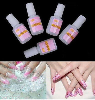 04 2 Bouteilles Colle à Ongle Glue Strass Cristal Faux Gel Capsule Nail Art