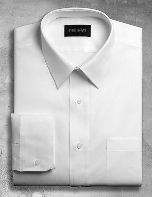 NWT. Size XS - 5XL. White Men's Lay-Down Collar Dress Shirt.