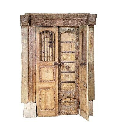"87"" Harris Door with Frame  Carved Antique Architectural Vintage Solid Wood Hand"