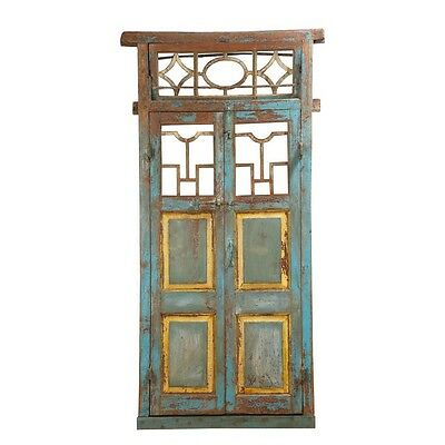 "88.5"" Ben Door and Frame  Carved Antique Architectural Vintage Solid Wood Hand M"