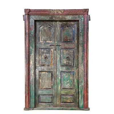 "103"" Hoa Door and Frame  Carved Antique Architectural Vintage Solid Wood Hand Ma"