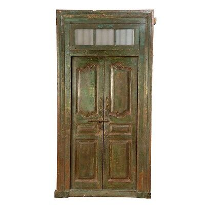 "100.5"" Juan Door and Frame  Carved Antique Architectural Vintage Solid Wood Hand"