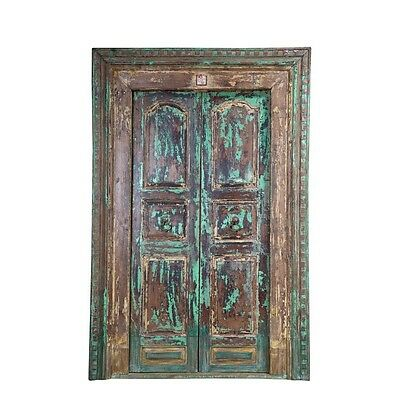 "92"" Marsha Door and Frame  Carved Antique Architectural Vintage Solid Wood Hand"