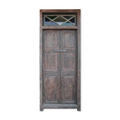 "100"" Jeffry Door  Carved Antique Architectural Vintage Solid Wood Hand Made 4-"