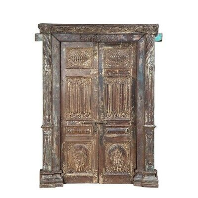 "82.5"" Kirk Door and Frame  Carved Antique Architectural Vintage Solid Wood Hand"