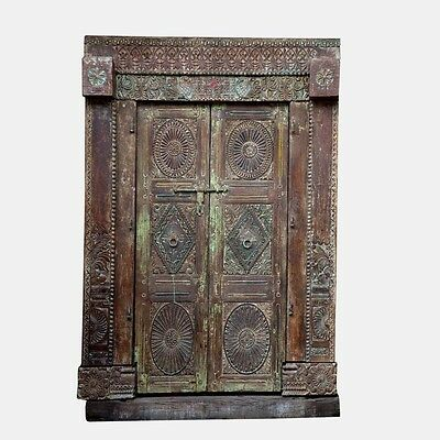 "92"" Ellie Door and Frame  Carved Antique Architectural Vintage Solid Wood Hand M"