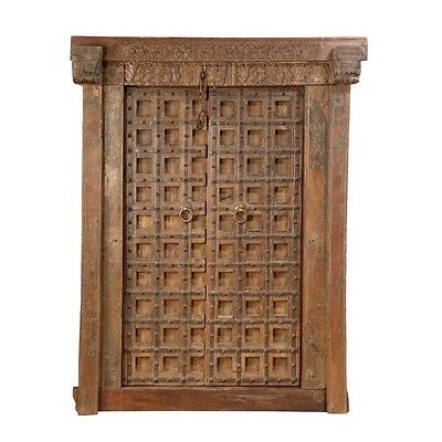 "79.5"" Coy Door and Frame  Carved Antique Architectural Vintage Solid Wood Hand M"
