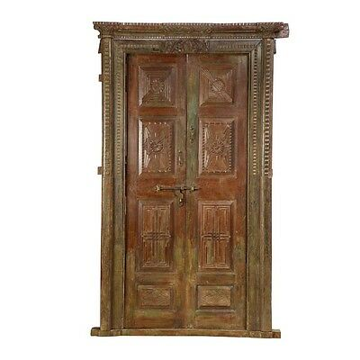 "97.5"" Katherin Door and Frame  Carved Antique Architectural Vintage Solid Wood H"