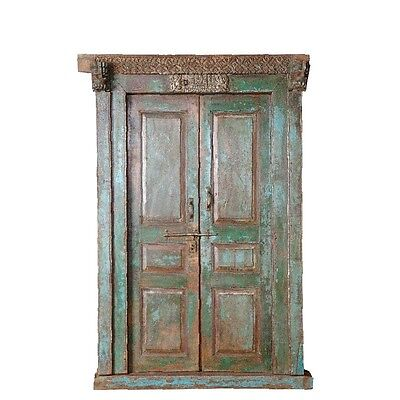 "87"" Elda Door with Frame  Carved Antique Architectural Vintage Solid Wood Hand M"