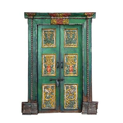 "85"" Dane Door and Frame  Carved Antique Architectural Vintage Solid Wood Hand Ma"