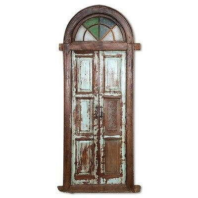 "94"" Fabiola Arched Door  Carved Antique Architectural Vintage Solid Wood Hand Ma"