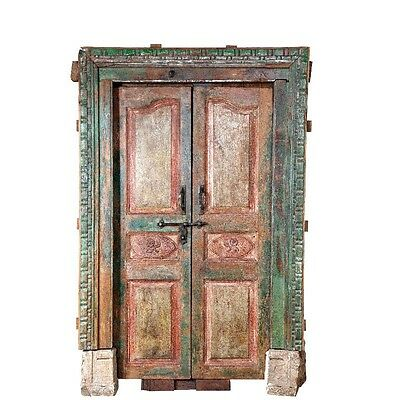 "87"" Armand Door with Frame  Carved Antique Architectural Vintage Solid Wood Hand"
