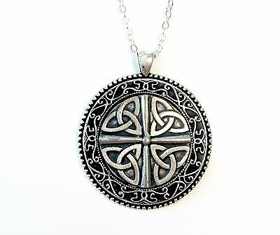 """Lg Irish Mullingar Pewter Necklace with 18"""" Silver Plated Chain - 4 Trinities"""