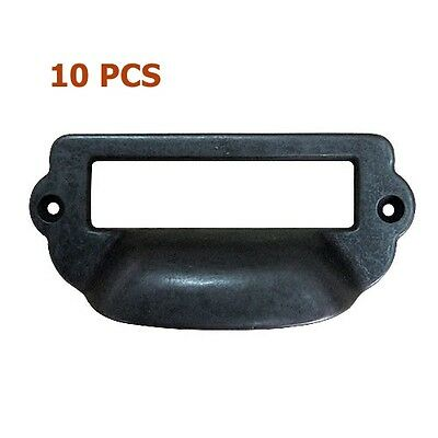 10 Pcs Black Label Holder Cup Pull Cabinet Cupboard Drawer Door Draw Handles