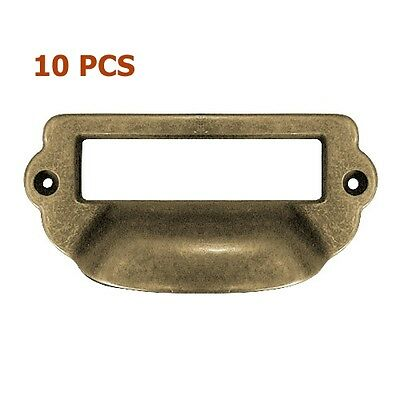 10x Antique Brass Label Holder Cup Pull Cabinet Cupboard Drawer Door Draw Pulls