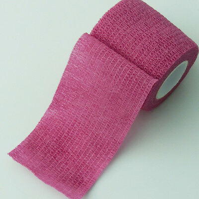 24 Rolls Home First Aid Bandage Horse Sport Cohesive Tape Gauze Pink 5cm*4.5m