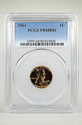 Pr68Rd 1961 Red Lincoln Penny Pcgs Graded 1C Proof Coin Liberty Us Pr68 One Cent