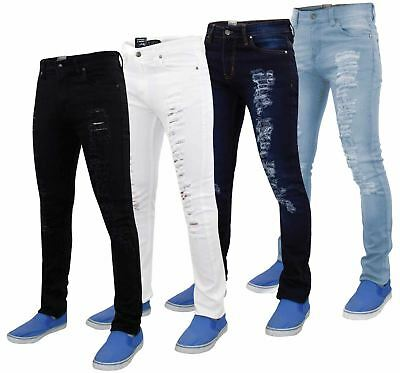 Mens G72 Black Denim Stretch Ripped Skinny Slim Fit Jeans All Waist Leg Sizes