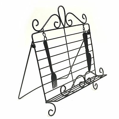 Cookbook Stand Cook Book Holder Knife Fork Black Metal French Country Iron 3691