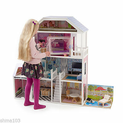 New Mamakiddies 1.3metre Tall Barbie Wooden Dolls House + Furniture/ Garage/Pool