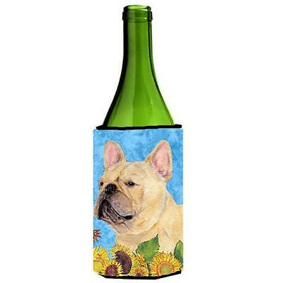 French Bulldog In Summer Flowers Wine bottle sleeve Hugger 24 oz.