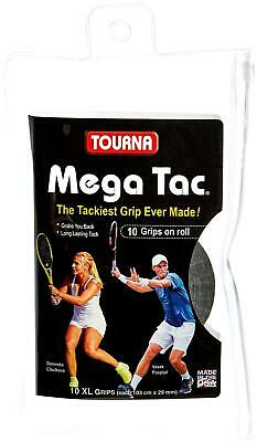 Unique Tourna Mega Tac Tennis Racket Tacky Replacement XL Grip - Black, 10-Pack