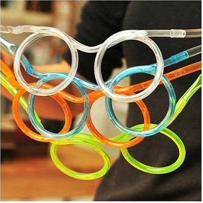 Hotsale Creative Glasses Straw Drinking Tube Kids Party Accessories Random Color